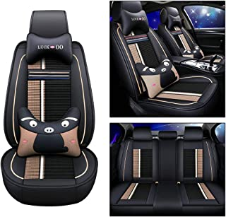 Maite PU Leather Car Seat Covers Cushions 5 Seats Full Set for Pontiac Aztek Bonneville G5 G8 Front Rear Seat Pad Protectors (Black and Beige)