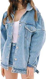 GAGA Women Boyfriend Denim Jackets Long Sleeve Oversized Loose Jean Coat