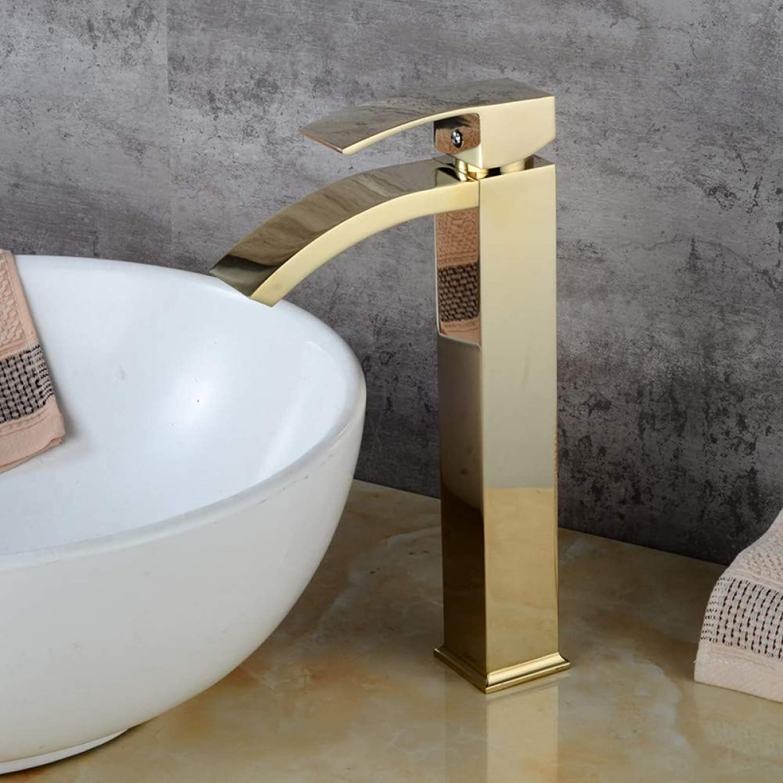ZHFJGKR&ZL Tap Basin Faucets Waterfall Tap Bathroom Faucet Single Handle Basin Mixer Tap Bath golden Faucet Brass Sink