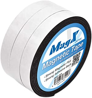 MagX Magnetic Tape with Adhesive 1.3 cm×3 m (3 Rolls), Ultra Thick 1.5mm, Magnetic Strip with Self Adhesive, Flexible Magn...