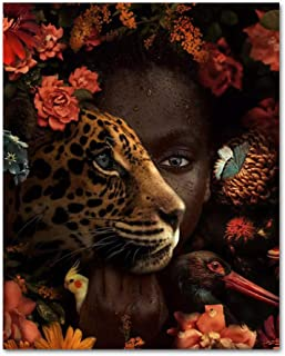 Modern African Black Woman Tiger Rose Bird Oil Painting On Canvas Cuadros Poster Wall Art Picture Living Room Home Decorat...