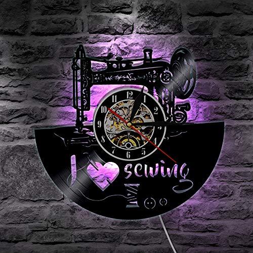 jiushixw Me Encanta Coser lámpara de Pared LED lámpara Retro Disco de Vinilo Reloj de Pared máquina de Coser decoloración lámpara de Pared Regalo Personalizado