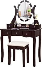 CHARMAID Vanity Table Set with Lighted Mirror, Makeup Dressing Table with 10 LED Lights, Touch Switch, 5 Drawers, Removable Organizer, 10 Dimmable Lights Makeup Table and Cushioned Stool Set (Coffee)
