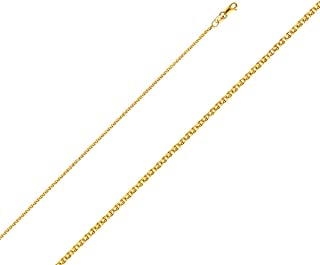 TGDJ 14k Yellow OR White OR Rose/Pink Gold Wheat Chain - Solid 1.5 mm Flat Open Necklace with Lobster Claw Clasp - Gold Stamped Fine Jewelry - Matches with All Pendants Special Occasions