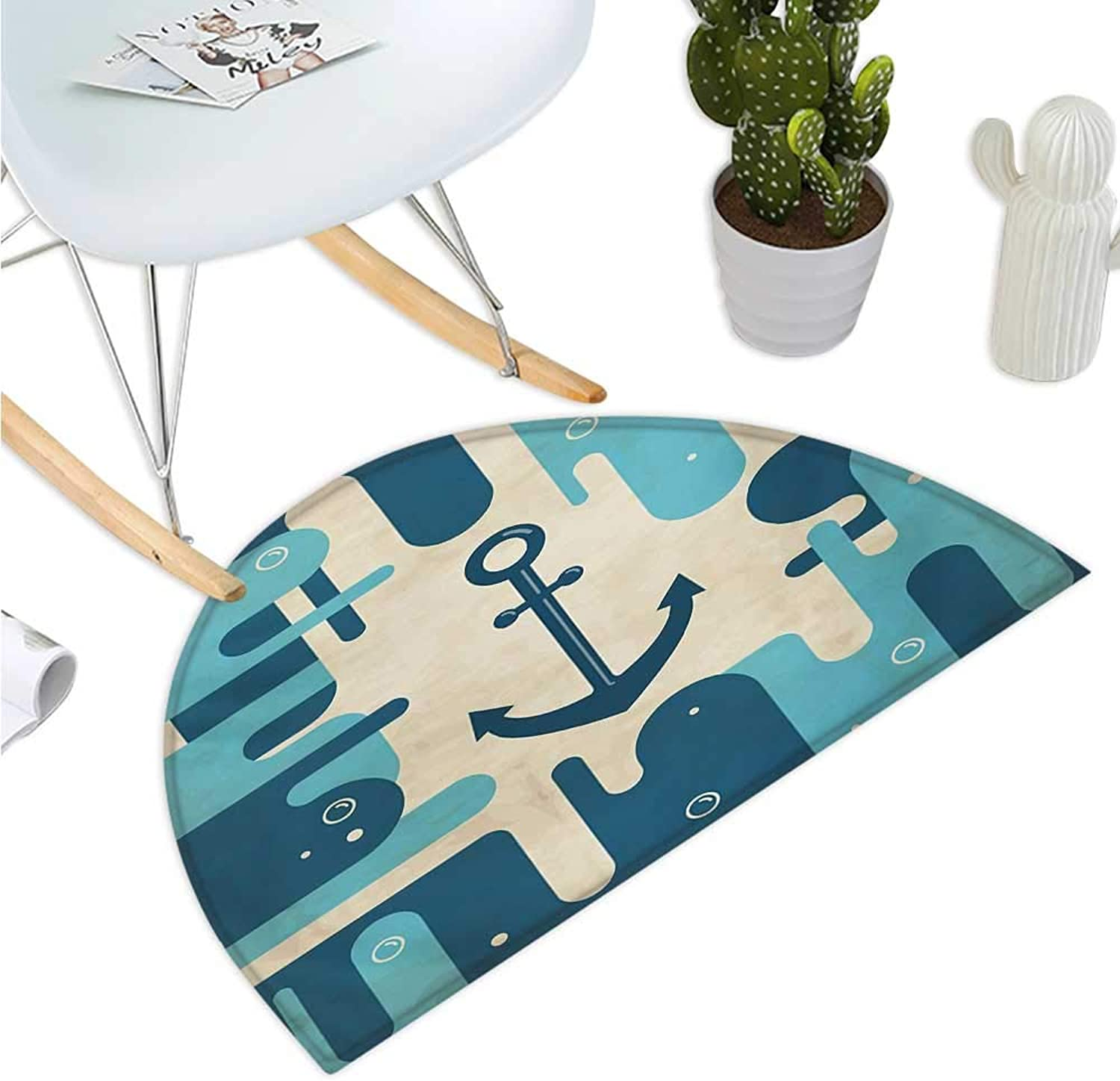 Anchor Semicircle Doormat Nautical Sea Inspired Abstract Design with Bubble Like Shapes Retro Halfmoon doormats H 43.3  xD 64.9  Cream Pale bluee Dark bluee