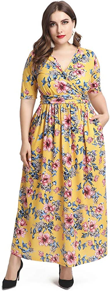 Love is Lovely Women's Plus Size Wrap V-Neck Short Sleeves Floral Print Casual Maxi Dress for Cocktail Party Christmas