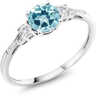 10K White Gold Diamond Accent Set with Ice Blue Topaz from Swarovski 1.15 cttw