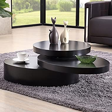 SUNCOO Rotating Coffee Table with 3 Layers Save Place Furniture for Living Room Round Black