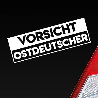 Auto Aufkleber in deiner Wunschfarbe Vorsicht Ostdeutscher Ostdeutschland Ossi ca. 19 x 6 cm Autoaufkleber Sticker