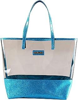 Glitter Tote Bag- Beach Bag Purse - Clear Vinyl Shoulder Bag with Glitter Accents - Aqua - Girls & Teen Accessories