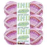 (3 Pack) Lion Brand Yarn 913-201 Ice Cream Cotton Blend Yarn, Strawberry
