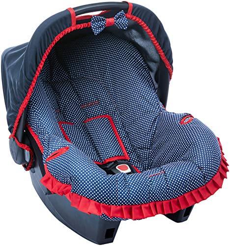 Capa para Bebe Conforto, Multimarcas sem Bordado, Alan Pierre Baby, Azul Marinho/Vies Verm