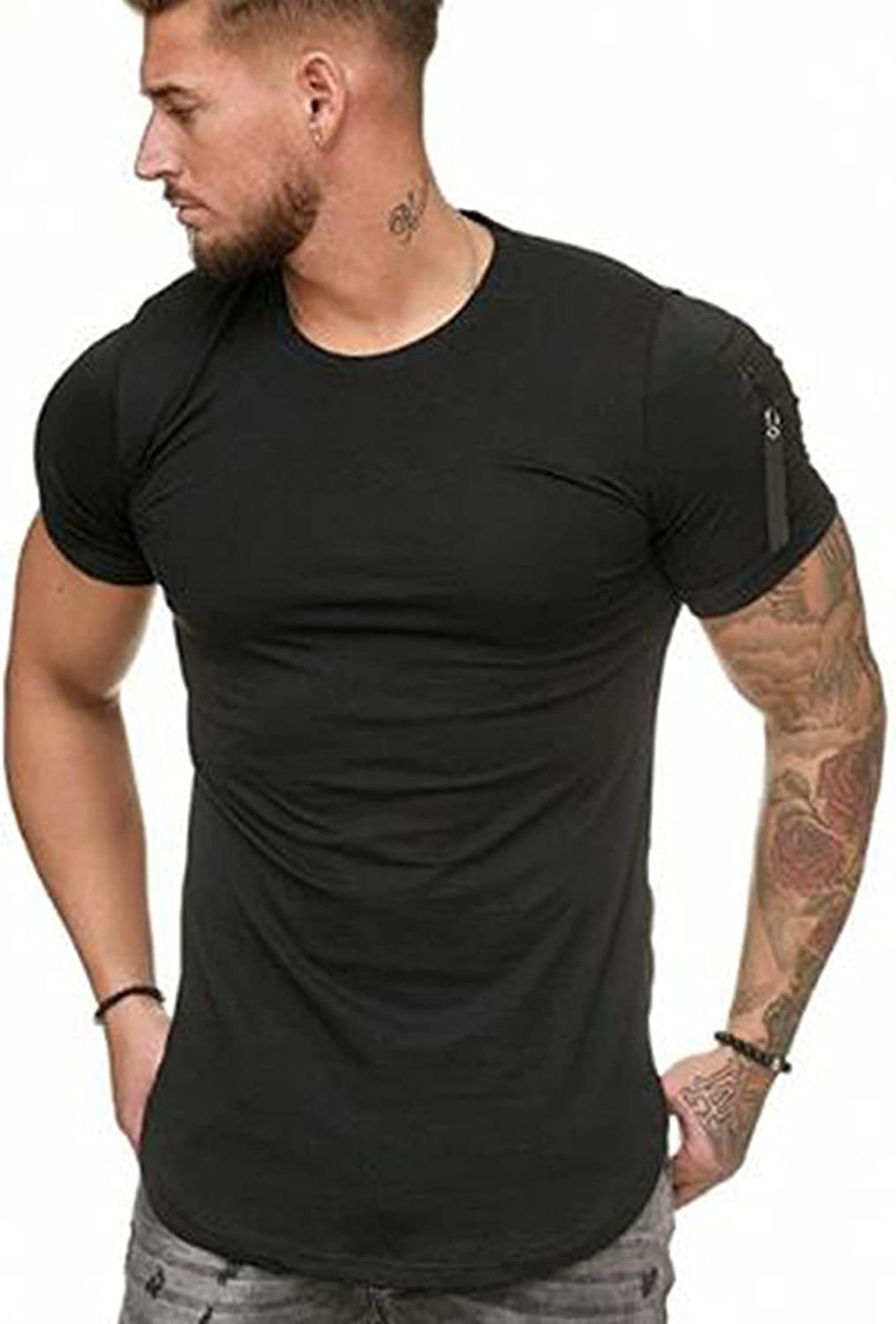 Mens Fashion Casual Workout T-Shirts Gym Short Sleeve Cotton Fit Fitness Pocket Tees