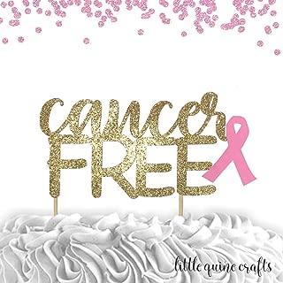 1 pc cancer free Gold Glitter Cake Topper hope ribbon cancer awareness survivor party