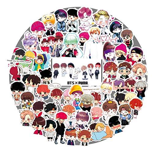 ALTcompluser Kpop BTS Bangtan Boys Stickers Wasserdicht Aufkleber Vinyl Aufkleber für Laptop, Macbook, Gepäck, Skateboard(58 Stücke)