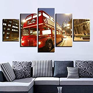 Oil Painting Cloth Wall Art Home Decor Modular Painting Living Room Poster 5 Pieces Red Bus London City Night View Pictures HD Prints Oil Painting Cloth Wall Art Framed-Inner Frame