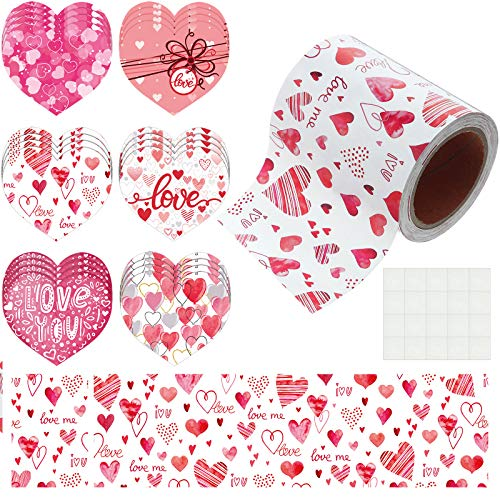 Water Color Heart Bulletin Board Borders 33ft Valentine's Day Borders with 24 Pieces Hearts Mini Colorful Cut-Outs, 6 Patterns for Classroom Decoration Valentine's Day