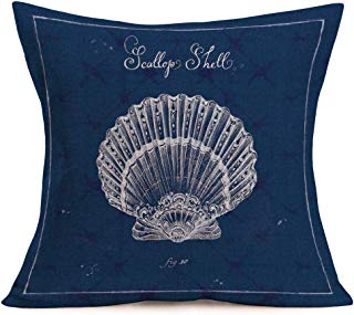 Smilyard Blue Ocean Style Cotton Linen Throw Pillow Covers White Sea Shell with Quote Words Home Decorative Pillow Marine Life Cushion Cover Sofa Decor 18x18 Inch (Blue Shell)