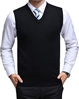 Mens Casual Slim Fit Knitted V-Neck Sweater Vest Pullover Long Sleeve Sweater Thermal Shirts