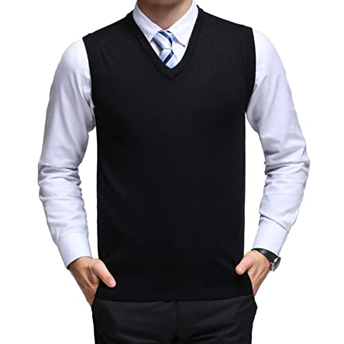 6036bfcf32263 YinQ Classic Mens Gilet V-Neck Sleeveless Jumper Vest Knitwear Cardigans  Knitted Waistcoat Sweater Tank