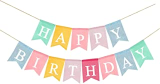 Colorful Linen Happy Birthday Party Banner Party Decoration Birthday Bunting Kids Party Supply Baby Shower Birthday Party