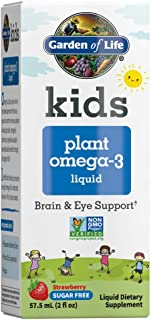 Garden of Life Kids Plant Omega-3 Liquid, Strawberry - Vegan Brain & Eye Support for Kids, Plant-Based Children's Omega 3 ...