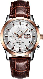 Aesop Sport Men Top Brand Luxury Waterproof Day Date Leather Japanese Quartz Wrist Watch Rose Gold White