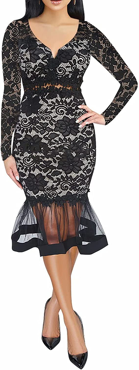 Aro Lora Women's Lace Floral Mesh Out Mermaid Hollow Ruffle Cock Free shipping Award-winning store on posting reviews