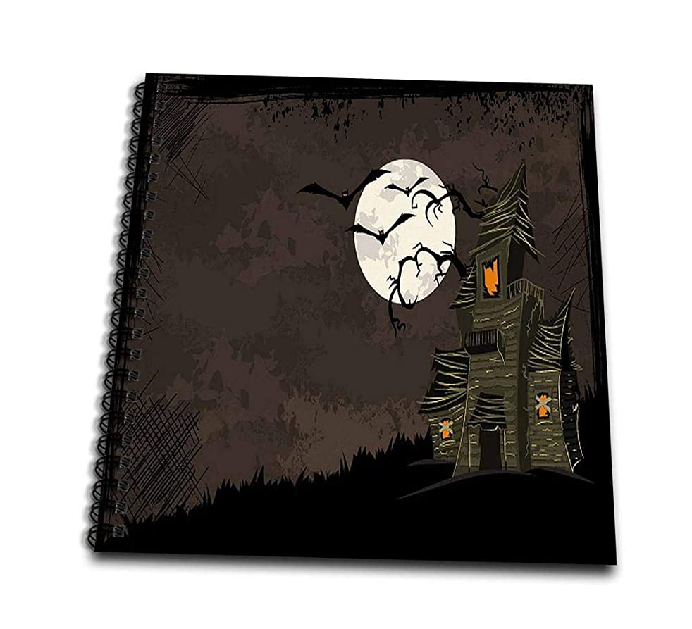 3dRose Halloween Haunted House with A Moon and Bats-Memory Book, 12 by 12
