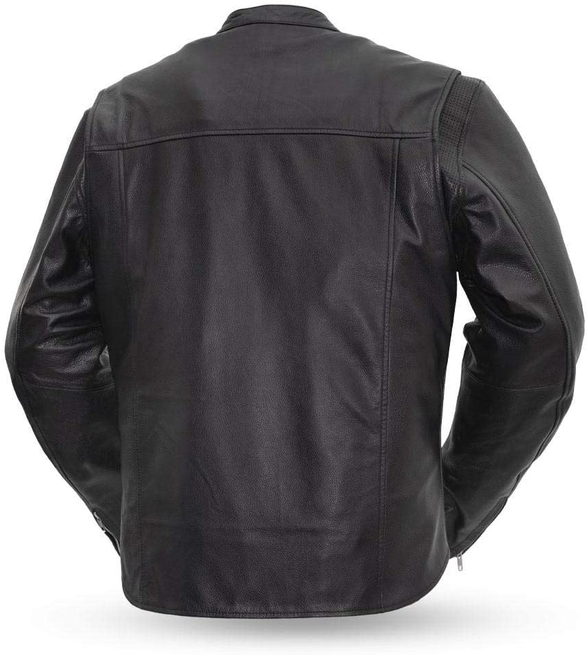 - Rocky Black, XX-Large Mens Motorcycle Leather Jacket First MFG Co