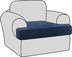 H.VERSAILTEX Stretch Velvet T Cushion Chair Covers for Living Room Armchair Sofa Cover Couch Cover Slipcover T Cushion Seat Cover Stay with Elastic Bands, Navy
