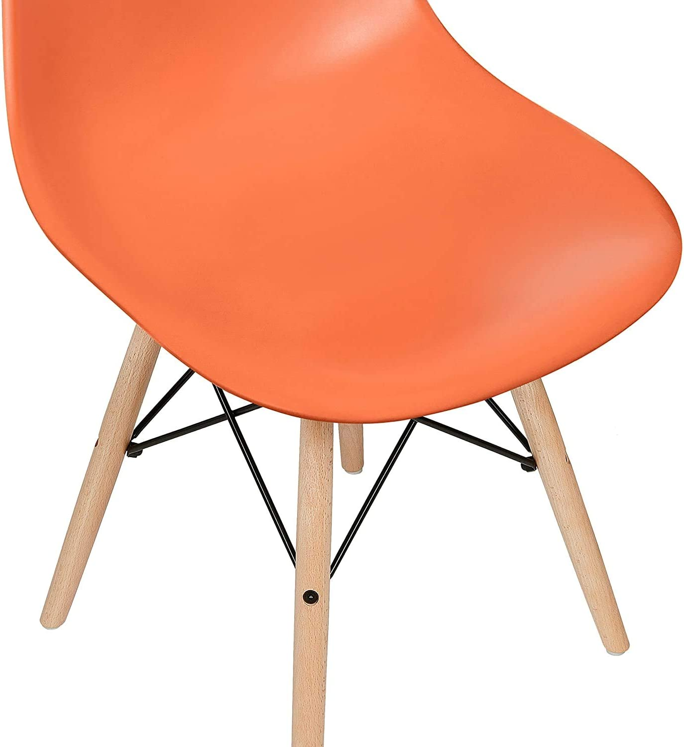 Orange Santru Dining Plastic Chair Retro with Wood Legs for Office Lounge Kitchen Bedroom DS-P