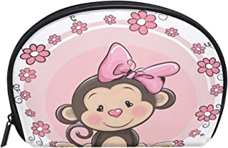 ALAZA Monkey Floral Half Moon Cosmetic Makeup Toiletry Bag Pouch Travel Handy Purse Organizer Bag for Women Girls