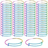 UPINS Expandable Bangle Bracelets Gradient Rainbow Bracelets Adjustable Wire Blank Bangles for DIY Jewelry Making (30)