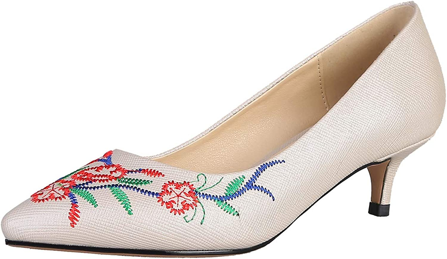 Artfaerie Womens Low Mid Kitten Heel Pointed Toe Pumps Slip on Dress Embroidered Retro Court shoes