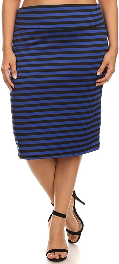 Women's Plus Size Basic Stretch Midi Pencil Skirt Office Wear Made in USA