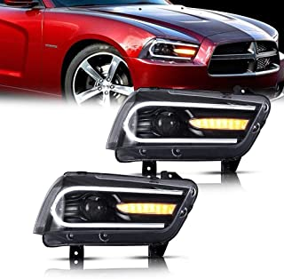 MOSTPLUS LED DRL Headlights w/Sequential Light for 2011 2012 2013 2014 Dodge Charger(Set of 2)