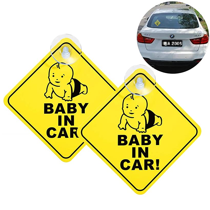 2PCS Baby in Car Suction, Removable Baby Warning Signs Non-Fading Thicken Kids Safety Warning Sucker Sticker