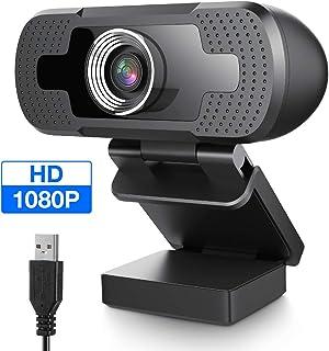 HOCOSY Cámara Web Plug y Play USB Cámara Web Full HD 1080P para PC Portátil Transmisión en Vivo Webcam con Micrófono para VideoConferencias Juegos Compatible con Windows Android LinuxMac OS