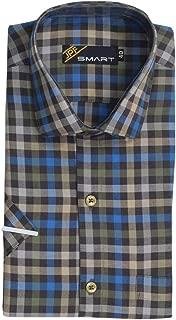 JPF Smart Men's Cotton Regular Fit Formal Shirt for Men Casual Half Sleeves Shirt for Men/Cotton Checkered Short Sleeve Shirts for Men Kaavy & Blue Checked Shirts boy