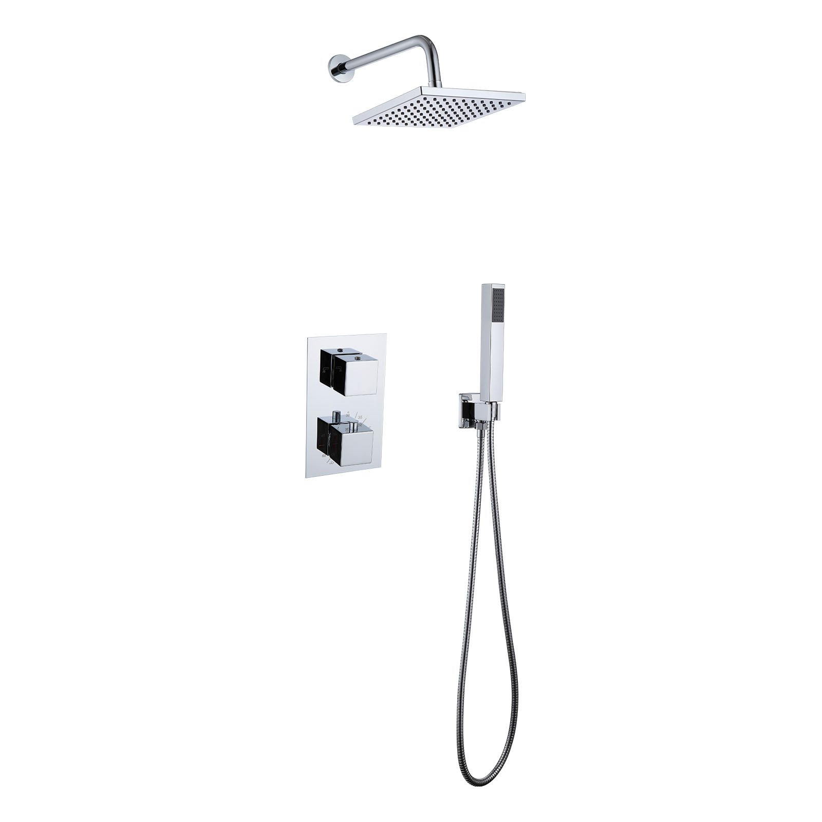 ABS Rain Head Wall Arm /& Concealed Shower Mixer Valve Black 9 inch Shower Set