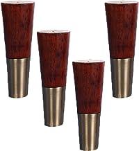 YWTT 4 stuks massief houten meubelpoten, tafelpoten houten, conische vervanging meubels voeten meubels benen, 15cm taps to...
