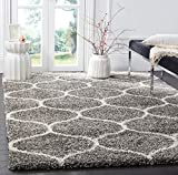Safavieh Hudson Shag Collection SGH280B Moroccan Ogee 2-inch Thick Area Rug, 5' 1' x 7' 6', Grey/Ivory