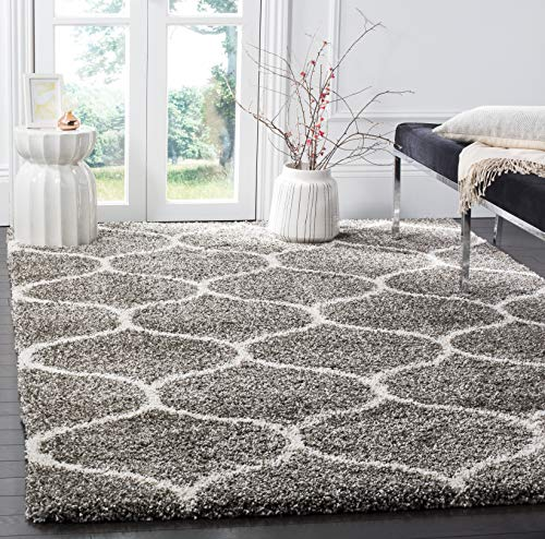 "Safavieh Hudson Shag Collection SGH280B Grey and Ivory Moroccan Ogee Plush Area Rug (5'1"" x 7'6"")"