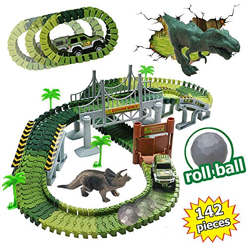 Dinosaurier Spielzeug Autorennbahn Twister Tracks Auto Kompatibel mit Magic Tracks,2 Dinosaurier Figuren,1 Militärfahrzeuge,1 Hindernisball und Andere Dino Zubehör Dino Spielzeug für Kinder