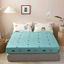Breathable Mattress Protector,Polyester Printed Sheets,Non-Slip Protective Cover, Apartment Bedroom Double King Size-Green...