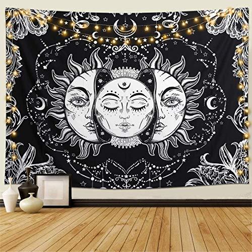 Gutsbox Tapiz de Pared Indio Hippie Bohemio Mandala psicodélico Colgar en la Pared Lanzar Luna y Sol Tapices Blanco Negro para Sala de Estar Dormitorio decoración 150x200cm con 6M LED Luces