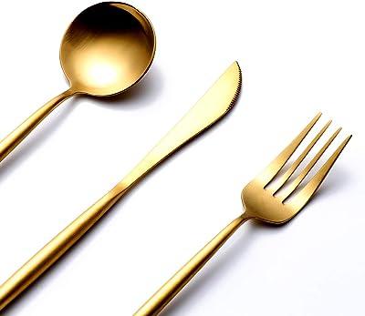 Nafenai Silverware Flatware Set, 5 Piece Stainless Steel Cutlery Set,Dishwasher Safe - Gift Box Flatware Set,Including Forks Spoons Knives-Gold