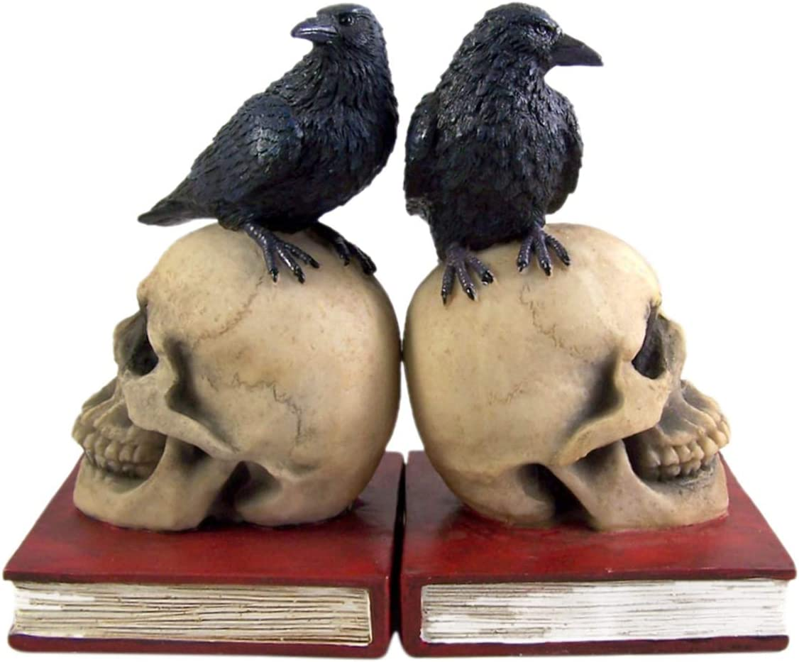 COLIBROX Gothic Skull and Raven Bookends New item 7 Inches Max 59% OFF Decorative