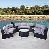 Mendler Luxus Poly-Rattan-Garnitur Savoie, Sitzgruppe Lounge-Set, XXL Sofa rund, anthrazit Kissen grau